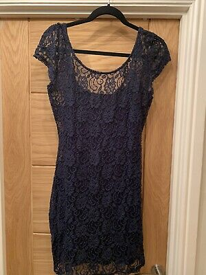 NWT Navy Lace Bodycon Midi Dress Abercrombie And Fitch Uk Size M • 5.80£
