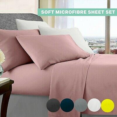 AU29 • Buy Ultra Soft Bed Sheet Sets Queen Double King Single Flat Fitted Sheet&Pillow Case
