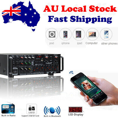 AU131.59 • Buy 2000W 2 Channel Audio Power Bluetooth Amplifier Home Stere SD EQ Pro W/ Remote