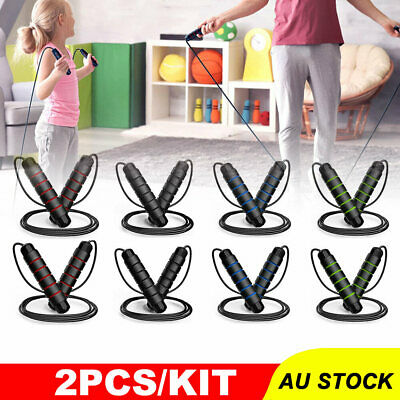 AU10.95 • Buy 2PCS Weighted Skipping Jump Rope Sweat-proof Boxing Training Fitness Gym Speed