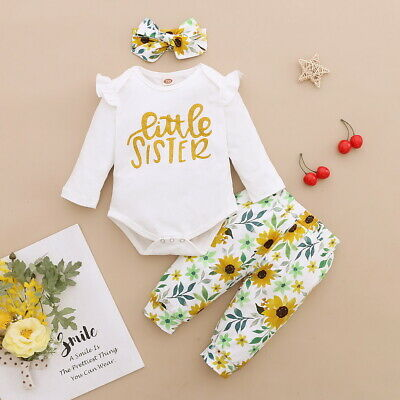 Newborn Baby Girls Frill Long Sleeve Romper Pant Headband Set Outfits Clothes • 9.67£