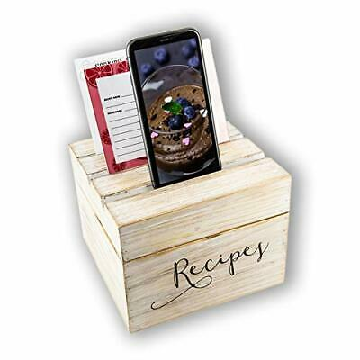Fir Wooden Recipe Box, Vintage Style Box With Cards, Dividers And Phone Holder • 37.99£