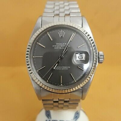 $ CDN5345.86 • Buy Rolex Datejust 1601 Stainless Steel In 18k White Gold Bezel - RARE Ghost Dial