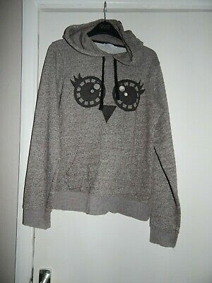 New Look Size 12 Cropped Hoodie Jumper Owl Face Grey Ears College Cute Comfy Eye • 3£
