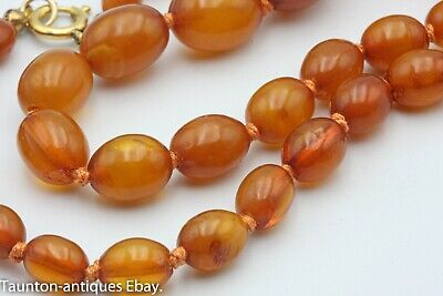 £145 • Buy Antique Egg Yolk Butter Scotch Honey Amber Knotted Bead Necklace 15.8 G