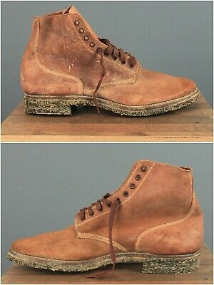 Men's NOS 1940s WWII USN Roughout Leather Boondocker Boots 11.5B WW2 Navy Shoes • 256£