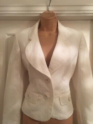 """Next White Tailored Single  Breasted Suit Size 12 Bust 34"""" Trousers Wide Leg • 9.99£"""