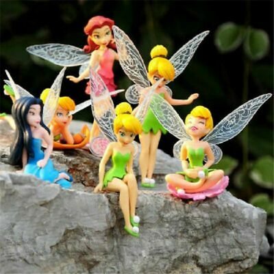 6 Pcs Tinker Bell Fairies Princess 3  Cake Toppers Action Figure Toy Set Gifts • 6.36£