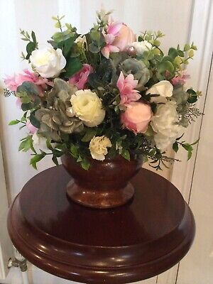 Large Silk Faux Flower Arrangement Wooden Mahogany Bowl Peony Roses • 30£