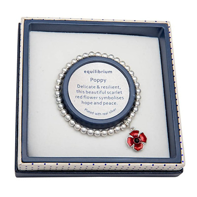 Equilibrium Silver Plated Beaded Bracelet With Poppy Charm • 15.99£