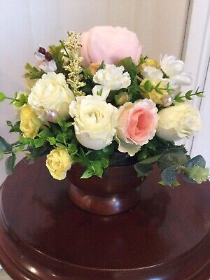 Silk Faux Flower Arrangement Wooden Mahogany Bowl Roses Artificial Cream Pinks • 20£