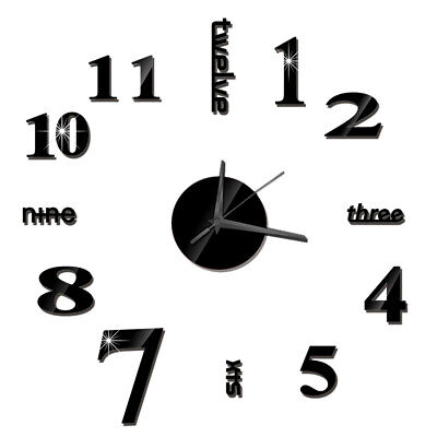 DIY Wall Clock Frameless Mirror Wall Clock Large Mute Wall Stickers For J9H1 • 4.65£