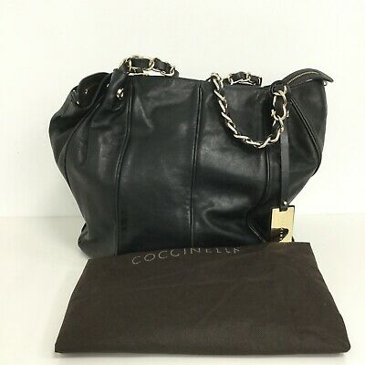Coccinelle Hand Bag Black Chain Handle Zip Fasten Smart Everyday 422508 • 23£