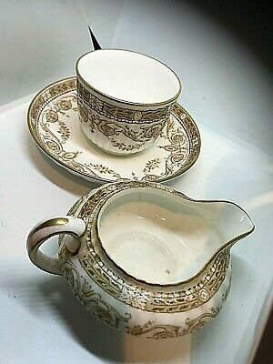 Victorian Brown Transfer Ware Cup , Saucer And Jug    Great Condition  • 22£