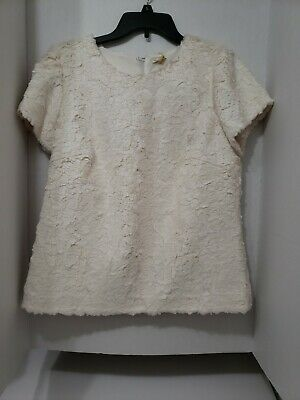 $ CDN25.46 • Buy Anthropologie Leifsdottir Women's Size Large Off White Ivory Faux Fur Top
