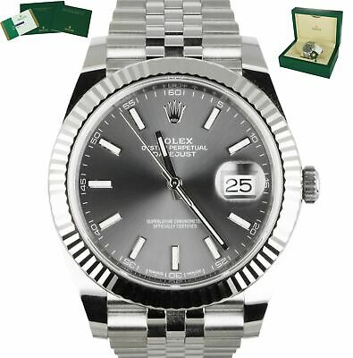 $ CDN13504.21 • Buy 2017 Rolex DateJust 41 126334 Gray Rhodium 41mm Fluted Gold Stainless Jubilee