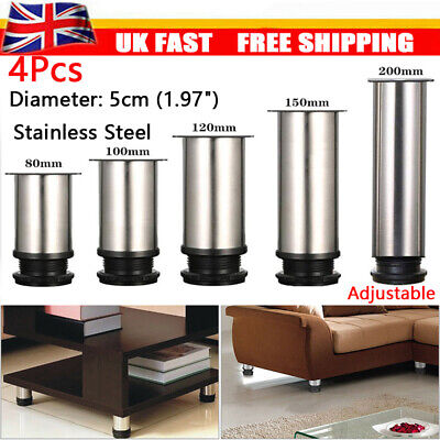 4Pcs Adjustable Stainless Steel Cabinet Couch Sofa Table Desk Furniture Leg Feet • 11.15£