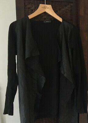 ZARA Waterfall M Cardigan With Faux Leather Front • 3£