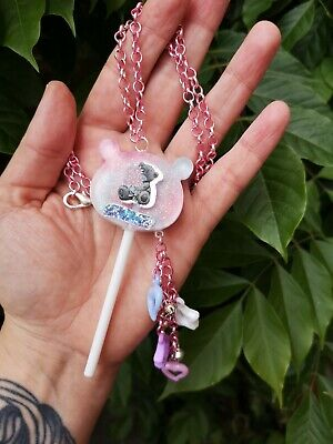 Resin Necklace Adult Baby Rattle Me To You Bear Friendship Lollipop Pastel Pink • 12£