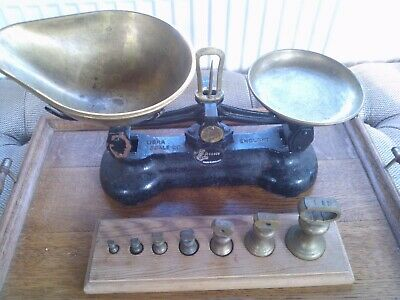 Vintage Set Of Librasco Sweet Shop Scales Black With Full Set Of Weights/holder • 38.99£