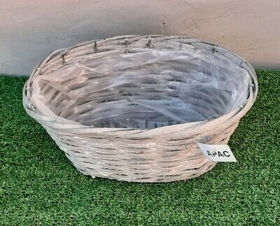 Grey Willow Wicker Oval Basket Container Planter - Garden Flower Herb Plant Pot • 6.50£