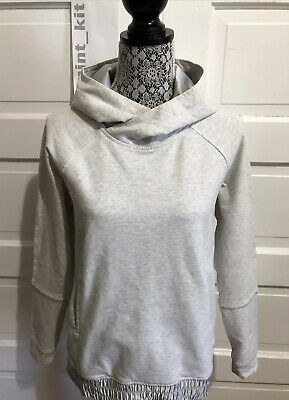 $ CDN1.26 • Buy LULULEMON All Good Pullover Hoodie Size 6 Heathered White Silver Spoon $98