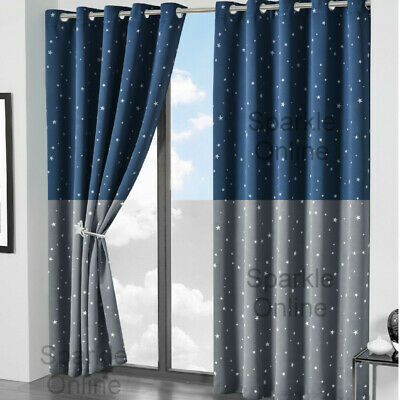 Glow In Dark Star Blackout Curtains Pair Ring Top Eyelet Thermal Ready Made Kids • 27.95£