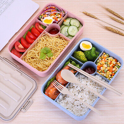 4 Compartment Wheat Large Portable Lunch Box Simple Food Container Tableware Set • 12.99£