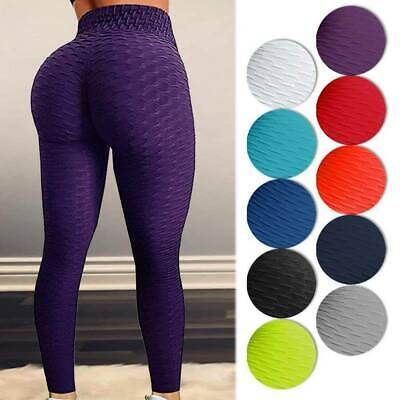 Women High Waist Yoga Pants Anti-Cellulite Leggings Sport Gym Trousers Honeycomb • 8.99£