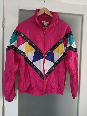 Vintage Ladies Shell Suit Top, Size 10-12. Fushia Pink And Multi Coloured.  • 14£