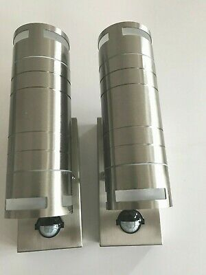 2 X Stainless Steel Indoor & Outdoor Up & Down Led Wall Lamps / Lights IP44 PIR  • 39.99£