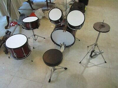 AU179.99 • Buy Used, DXP 5 Piece Junior Series Drum Kit - Wine Red Color In Good Condition