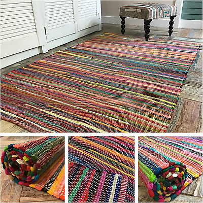 £74.50 • Buy Second Nature Online Large Rainbow Eco Friendly Chindi Rag Rug Hand Loomed In Cm
