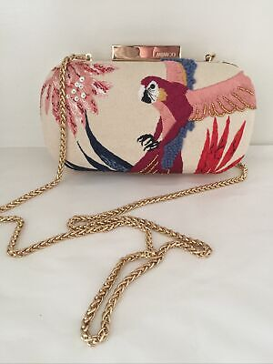 AU40 • Buy Mimco Clutch Bag Embroided. Gold Chain