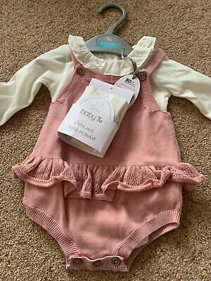 TU Sainsburys Baby Girl Knitted Romper Outfit Set BNWT Ruffle Pink 0-3months • 2.10£