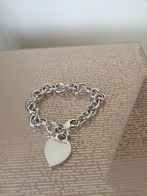 Genuine Tiffany & Co Silver 925 Heart Tag Bracelet  - Clasp Needs Attention • 43£