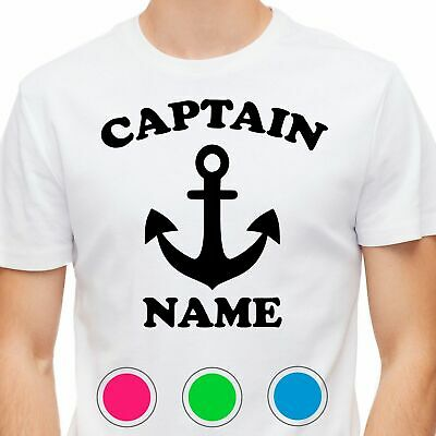 Mens T-Shirt Captain Name Anchor Novelty Gift Cotton • 9.95£