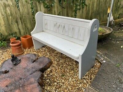 Rustic Antique Solid Wooden Pine Church Pew Settle Monks Bench Wooden Hall Seat • 77£