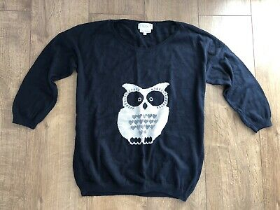 Next Blue Owl Knit Jumper Top Size 8 3/4 Sleeve • 2.25£
