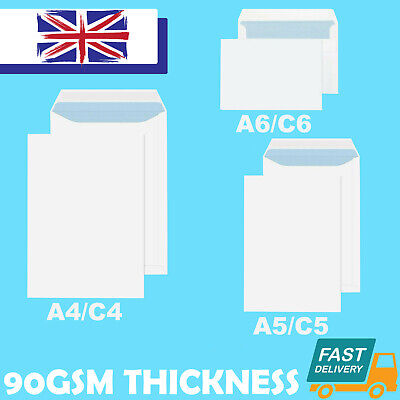£17.75 • Buy Quality Plain 90gsm White Envelopes Self Seal Strong Paper C5/a5 C6/a6 C4/a4