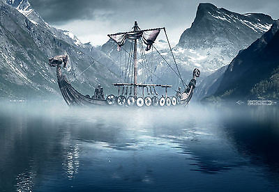£24.95 • Buy Large Framed Print - Viking Longboat In The Cold North Sea (Picture Nordic Art)