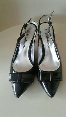 Ladies  Size 6 Black Patent Sling Back  Shoes With Kitten Heels • 8£