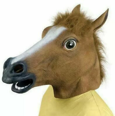 £6.98 • Buy Rubber Horse Head Mask Panto Fancy Party Cosplay Halloween Adult Costume