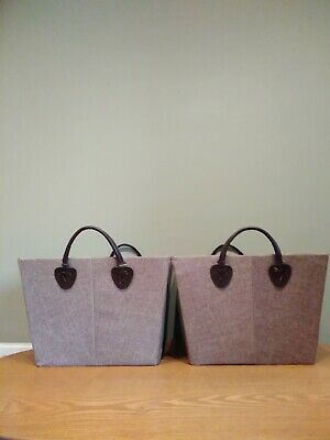 2 X Fabric-Type Storage Baskets, Leather-Look Handles, Natural Colour  • 2.99£