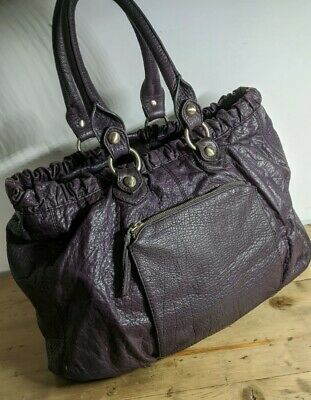 WHISTLES Large  16 X 8 X 12 Leather 💜Purple💜 HOBO Bag. 'HOLDALL' • 8.10£