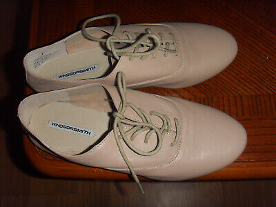 AU18 • Buy  WINDSOR SMITH  Blush/Dusty Pink Flat Shoes With Strings, Size 7, Leather Upper