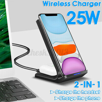 AU24.29 • Buy 2 In1 25W Qi Wireless Charger Dock Stand For IPhone 8 XR For AirPod For