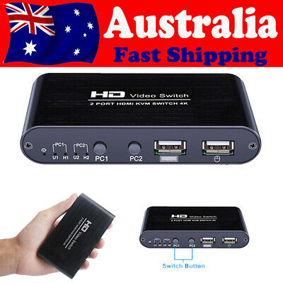 AU48.22 • Buy TOMLOV HDMI KVM Switch Box HD HUD 2 Port 4K Monitor Selector For Keyboard Mouse