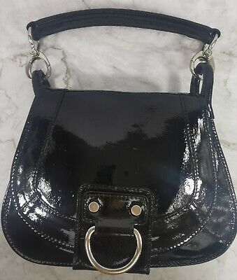 £29.99 • Buy Vintage Y2K Black Patent Leather Russell And Bromley Top Handle Metal Hand Bag.