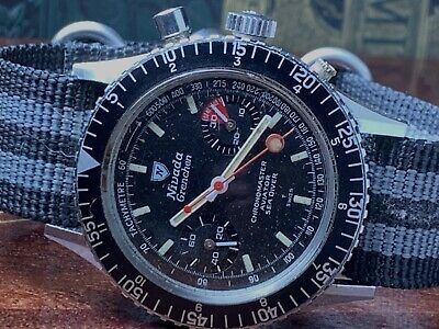 $ CDN2826 • Buy Vintage Nivada Grenchen Chronomaster Sea-diver Valjoux 23 Chronograph Keeps Time